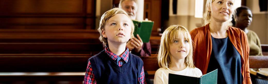 Blended family in church